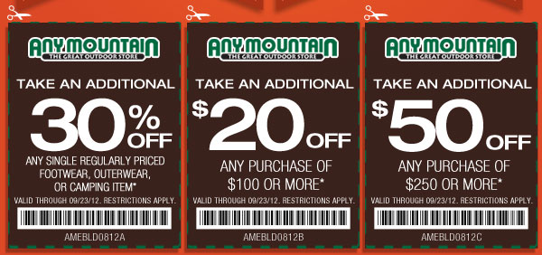 $20 off $100 or more Use Any Mountain Coupon